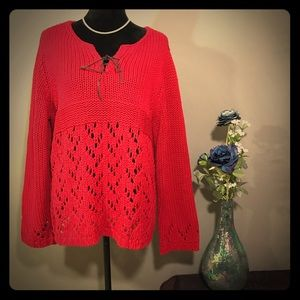 Venezia Red Crochet Long Sleeves Sweater